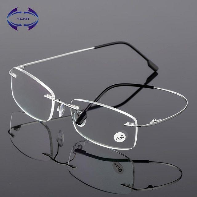 606631d70a1b7 VCKA Rimless Reading Glasses Men Titanium Alloy Fold Women Square Eyeglasses  Presbyopic Frameless Eyewear 1.0 1.5 2.0 2.5 Review