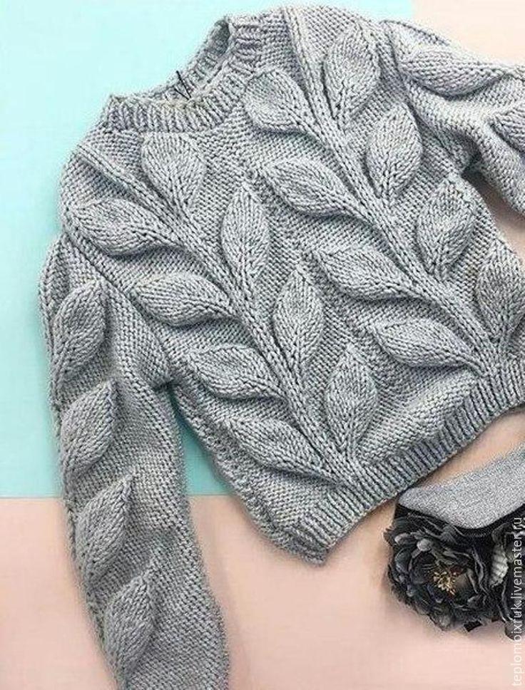Pullover mit Blattmuster Inspiration stricken