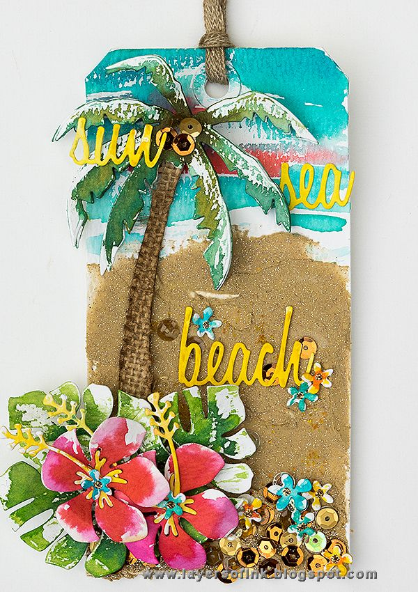 Layers of ink - Tropical Beach Tag Tutorial by Anna-Karin. Made for the Simon Says Stamp Monday Challenge Blog, with Tim Holtz Sizzix dies, and Ranger inks and glitter.