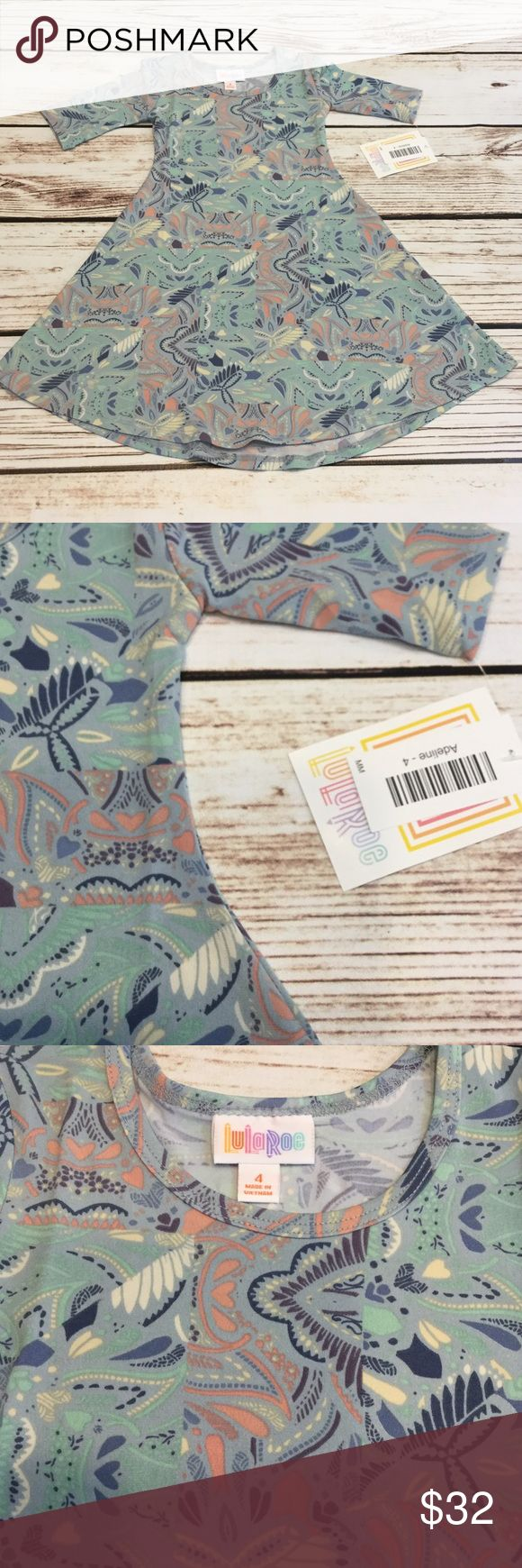 👒Girls Adeline in a blue/gray tone NWT size 4! 🇺🇸Item is as pictured 🇺🇸See sizing chart for details.  🇺🇸No trades  🇺🇸FIRM on this item no offers accepted unless you bundle. 😉Thank you for the likes, shares and kindness! 😘 LuLaRoe Dresses Casual
