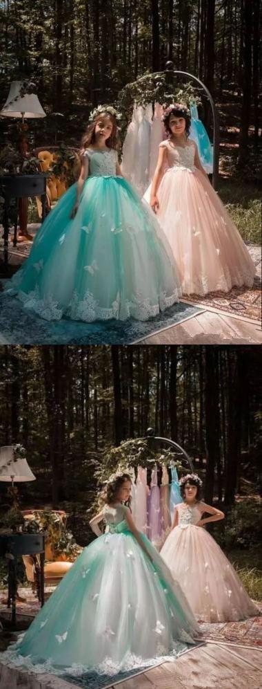 Girls Pageant Dress Princess Gown Flower Girl Dresses Butterfly Kids Formal Gowns,HT029