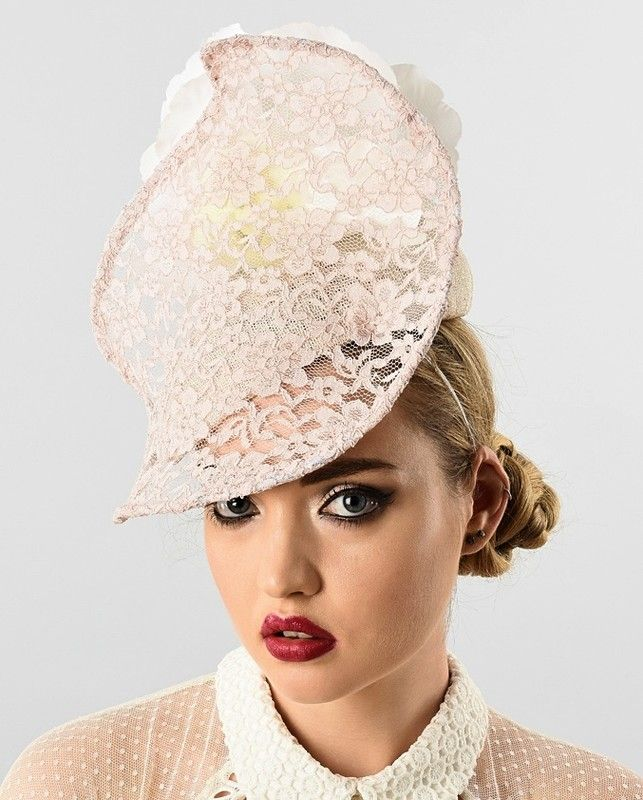 Ana Bella Millinery | Peach Lace | Ivory and Headpieces | LOVEHATS.COM