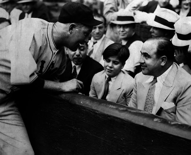 Al Capone and son at baseball game