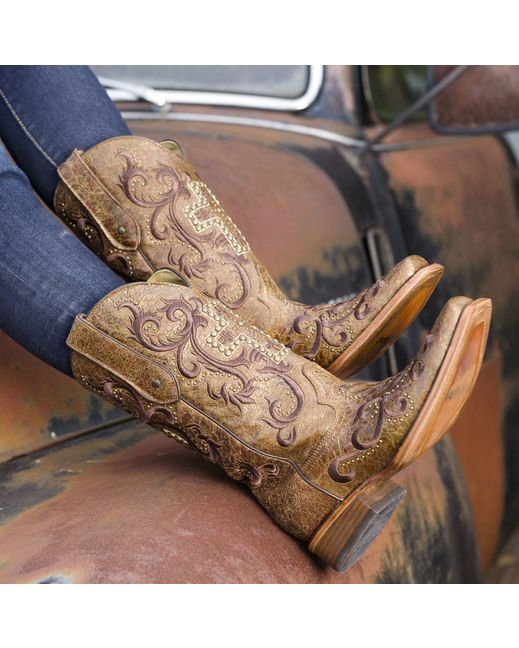 Corral Women's Tan/Gold Studded Cross Square Toe Boot - C2860