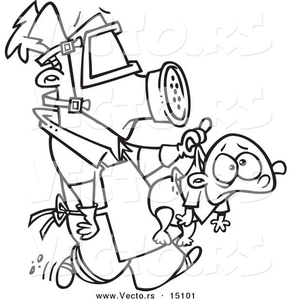 Vector of a Cartoon New Dad Wearing Protective Gear and Carrying a Baby - Coloring Page Outline by Ron Leishman - #15101
