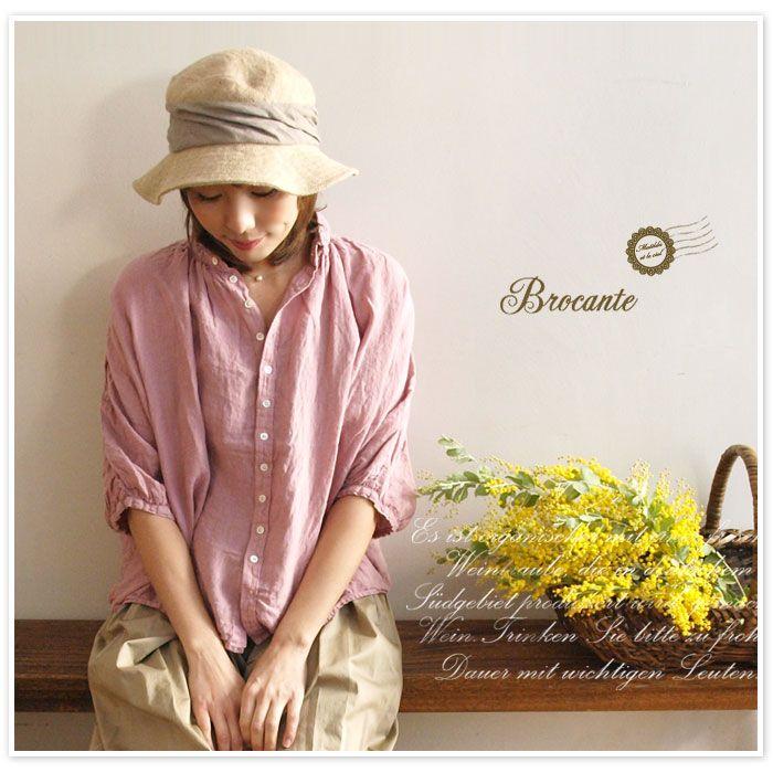 【Brocante ブロカント】リネン キャンバス グラン シャツ(38-042L)