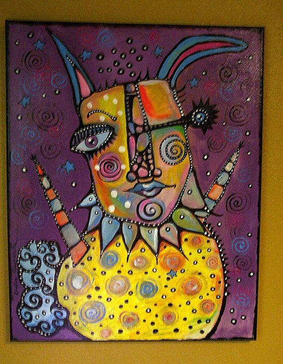 NEW Acrylic Pop Art Some Bunny Loves You  Canvas by KinkyCupcake, $220.00