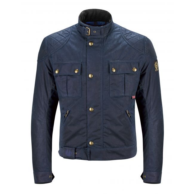 BLOUSON MOTO Belstaff BROOKLANDS WAX8oz NAVY BLUE