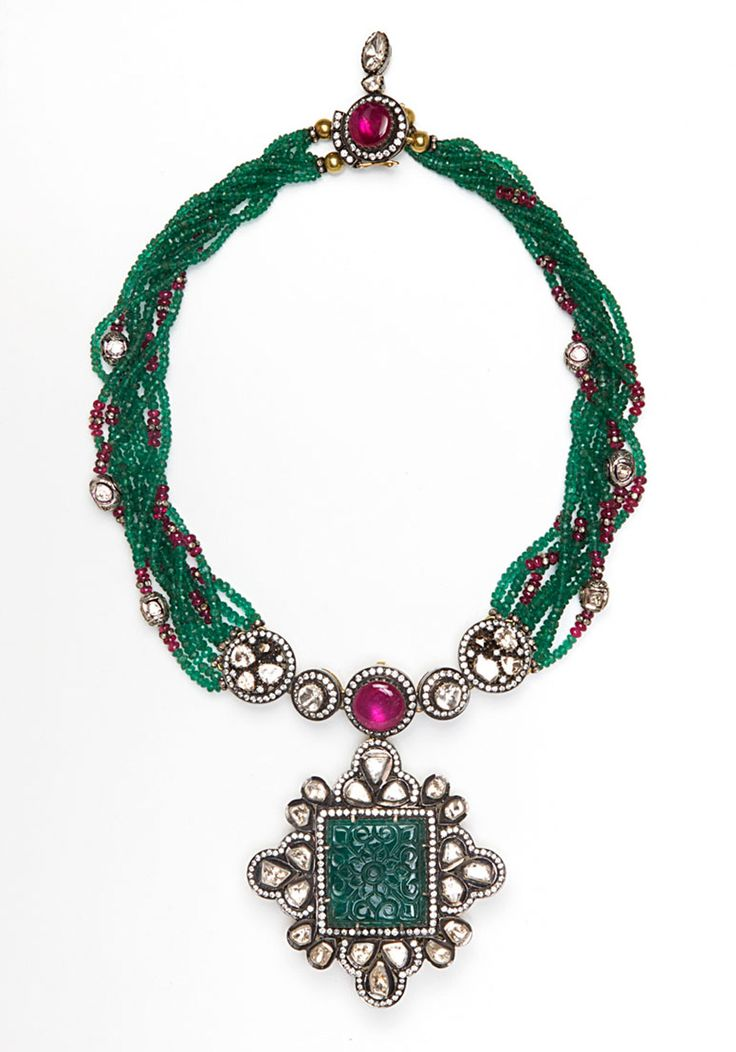 Multi strand Zambian emerald, diamond and ruby necklace with large diamond and carved Zambian emerald pendant.