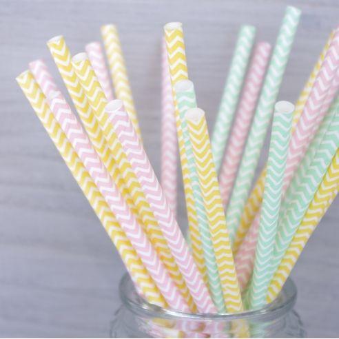 25 pailles MIX pastel