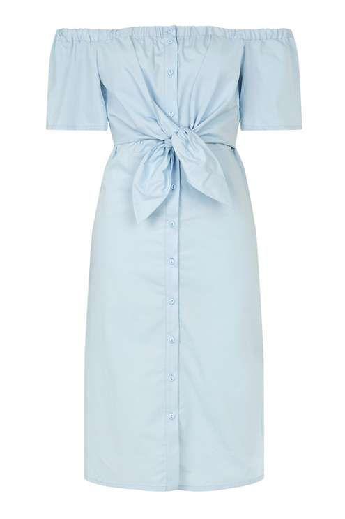 topshop off-the-shoulder midi dress