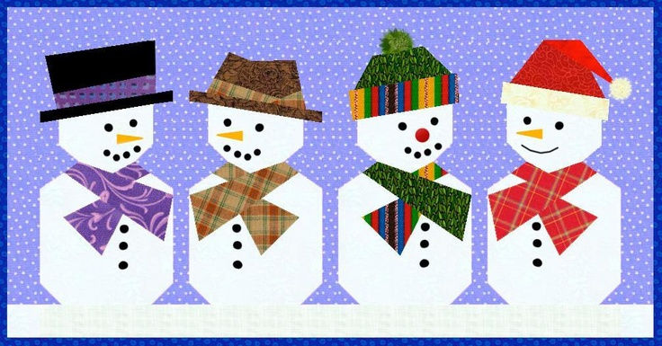 Snowman Paper Pieced Quilt Block Pattern
