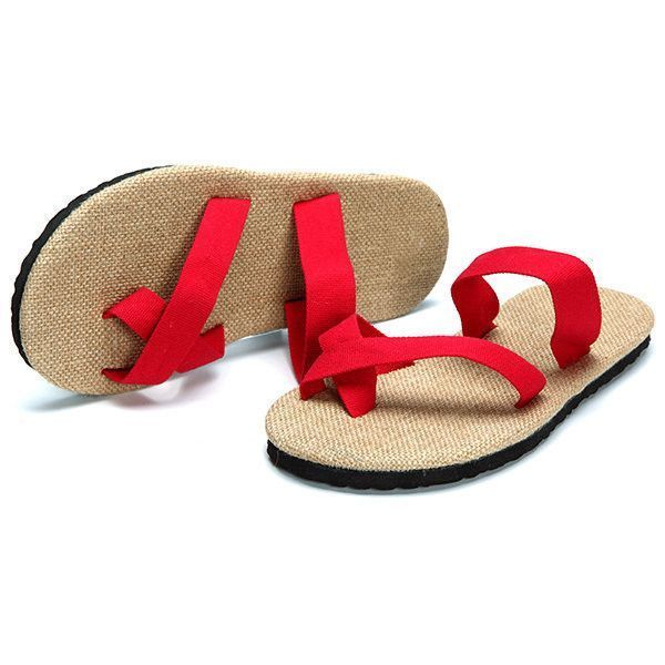 82f259247e3 Big Size Flip Flops Pure Color Flax Casual Beach Sandals ( 10) ❤ liked on