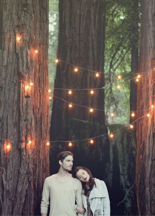 """future idea: engagement photo w/ garland in trees spelling """"save the date"""" or whatever"""