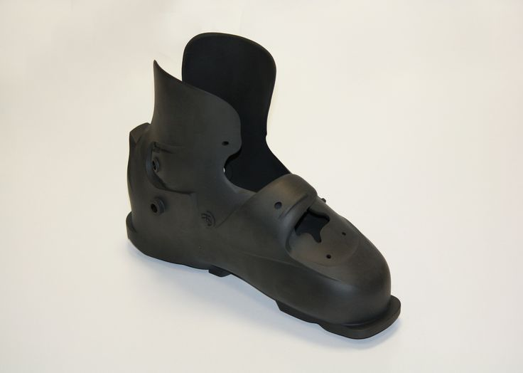 A 3D-printed skiboot. The boot structure has been entirely made in Windform SP, one of the top level material of the Windform family