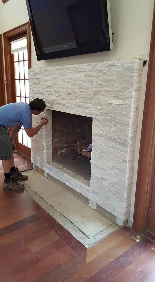 White Ledgerstone Fireplace - Supply & Installation by us