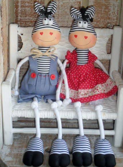 ZEBRAS casal | Ideias e Panos Country Dolls | 1096E9 - Elo7