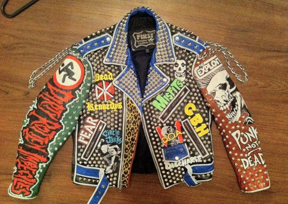 Vintage Studded Punk Leather Jacket Germs Dead Kennedys