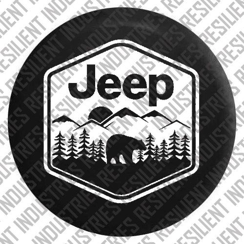 JEEP SPARE TIRE cover Jeep Wrangler Bear by RESILIENTINDUSTRIES