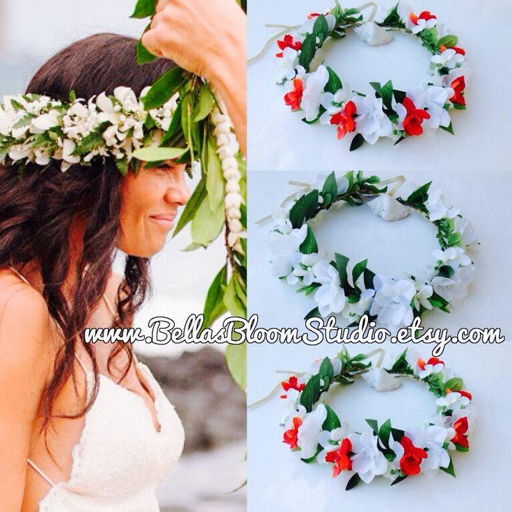 Hawaiian head leis Hawaiian headbands Hawaiian hair flower Hawaiian wedding tropical hair wreath Flower crown Hawaii  hawaiian haku etsy by BellasBloomStudio on Etsy