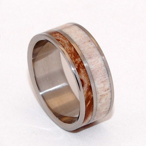 """KATAHDIN"" - Asymmetrical inlays of Moose Antler and Maple Wood give this unique titanium wedding band real New England charm. Mirror polished. Pictured at 7.9mm."