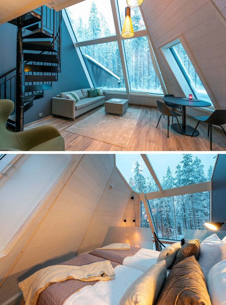 A Collection of Unique Cabins With Large Windows And Lofted Bedrooms Was Designed For This Holiday Destination In Finland