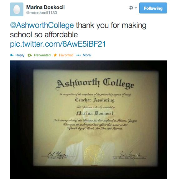 We'd like to congratulate Marina for graduating from our Teacher Assistant Training Online Program!  See Ashworth Reviews from other proud graduates:  http://www.ashworthcollege.edu/why-ashworth/success-stories