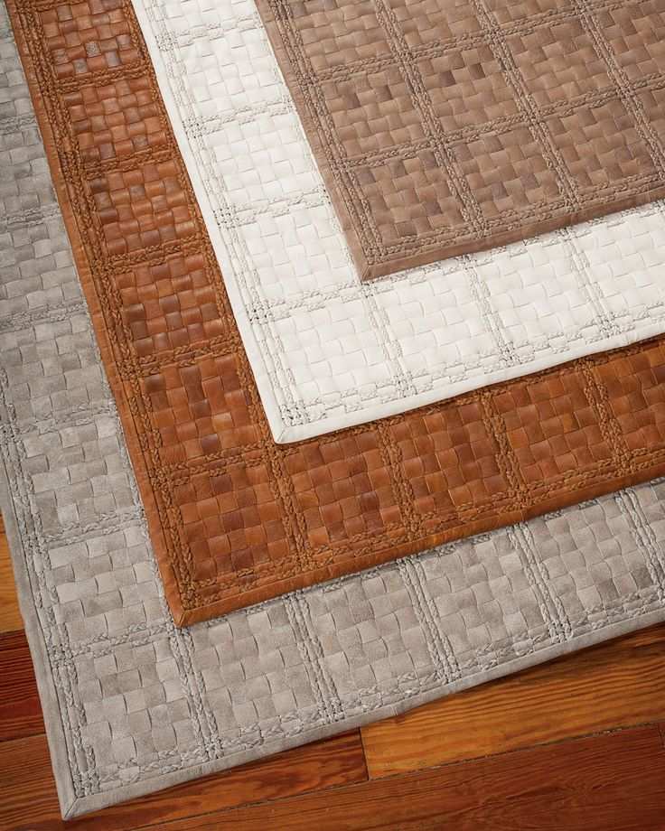 Derby Woven Leather Rug, 8' x 11', Saddle