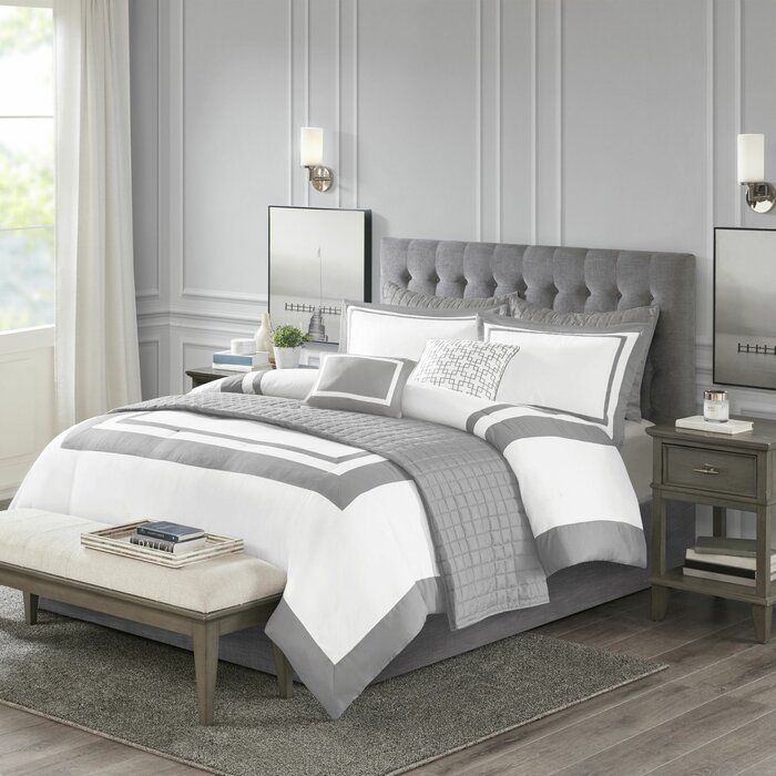Baucom Patchwork 8 Piece Comforter Set Grey And White Comforter Comforter Sets Grey And White Bedding