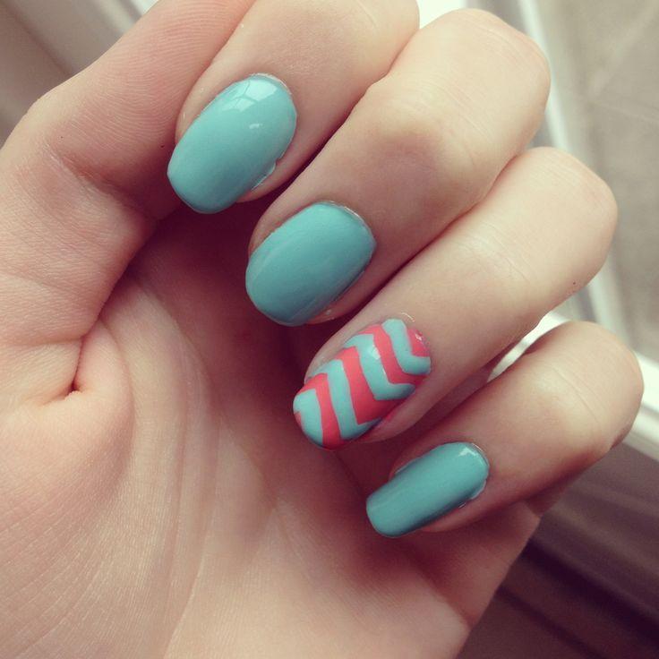 Chevron blue and pink nails   nails