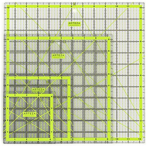Acrylic Quilters Ruler, Non-Slip, Double-Colored Grid Lin...