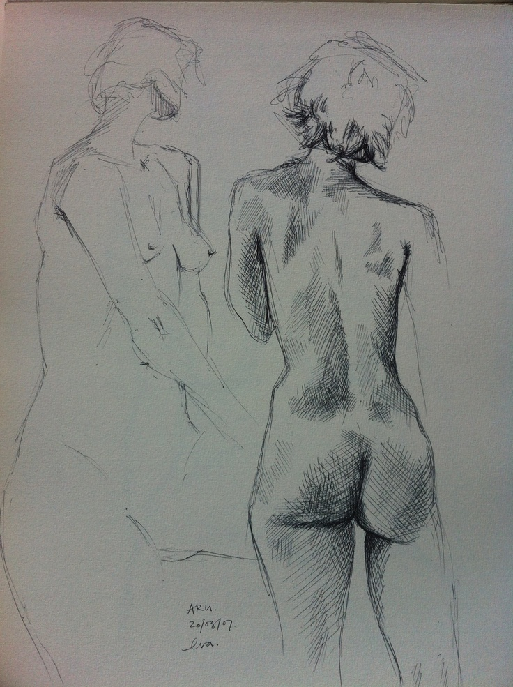 Life drawing in biro at ARU, 2007: 2 minute and 20 minute poses