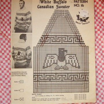 White Buffalo Cowichan SWEATER pattern EAGLE thick by buythesea