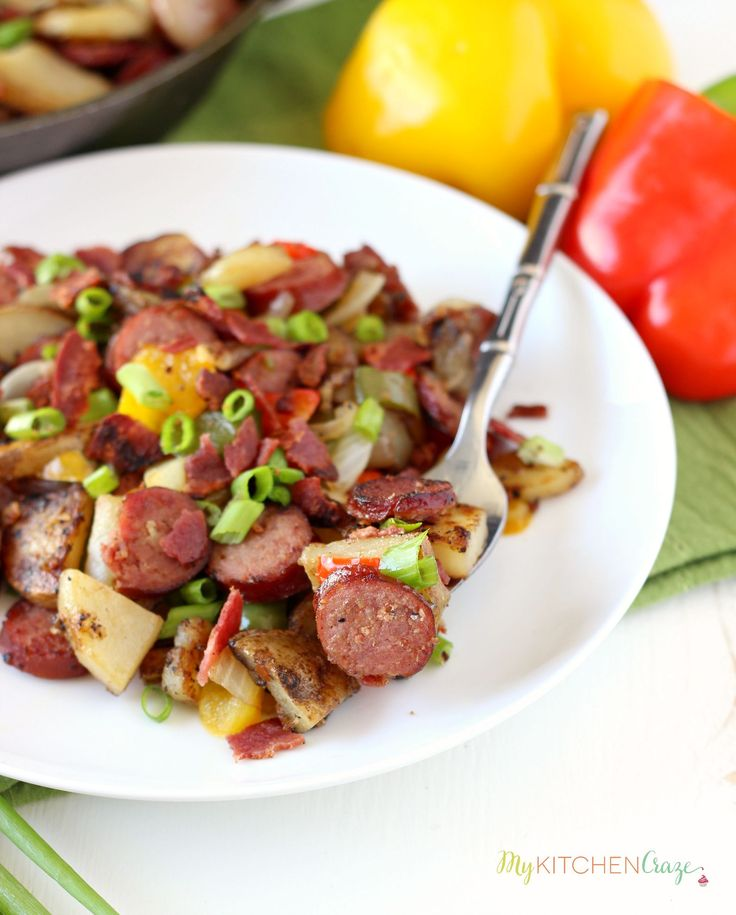 Beef Kielbasa & Potato Skillet ~ mykitchencraze.com ~ Beef Kielbasa and Potato Skillet is a hearty delicious meal. On your table within 30 minutes and only uses one skillet, this dish makes cooking and cleaning a breeze. @mykitchencraze