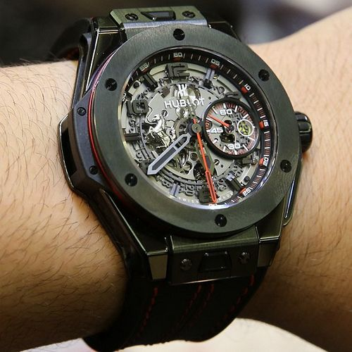 #hublot @hublot_watches #Ferrari Big Bang in black ceramic with Inhouse Hublot chronograph movement.