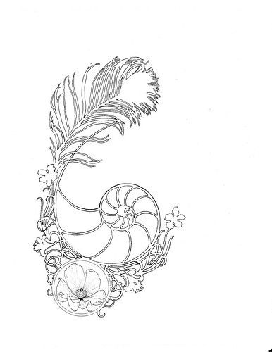 Art nouveau tattoo.  I would add color though, probably the cool watercolor splashes I've been seeing