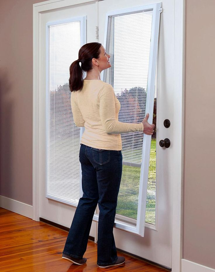 ODL Add-on Blinds for Doors  http://www.homedepot.com/p/ODL-22-in-w-x-64-in-h-Add-On-Enclosed-Aluminum-Blinds-White-Steel-Fiberglass-Doors-with-Raised-Frame-Around-Glass-BWM226401/100656620