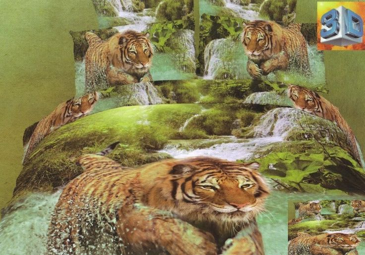 Pościele z bawełny na łóżko w kolorze zielonym z tygrysem