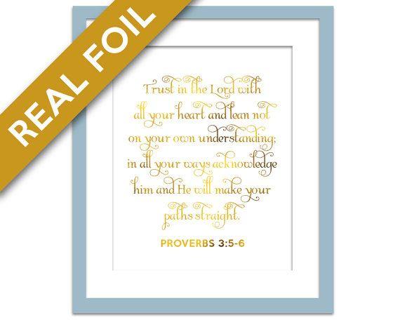 Trust in the Lord - Gold Foil Print - Inspirational Poster - Proverbs 3:5-6 Art - Gold Nursery Art - Biblical Art - Gold Scripture Print