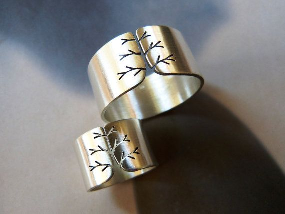 Tree ring silver wedding ring set wide band ring couples