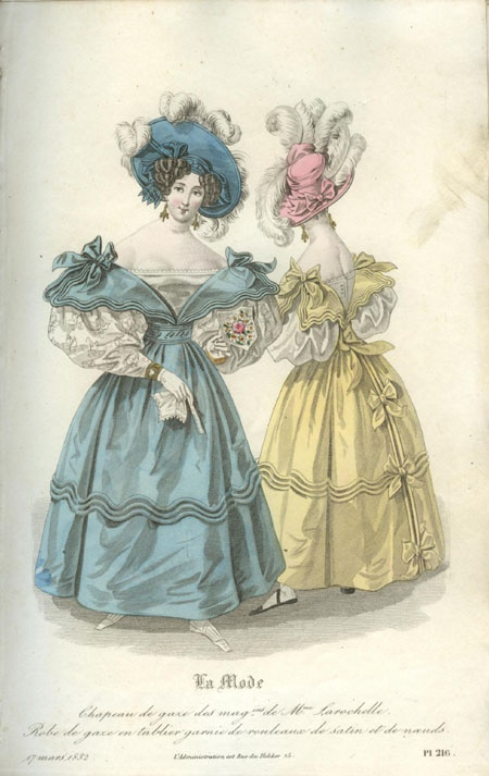 1832 fashion plate, trims and bows on yellow dress