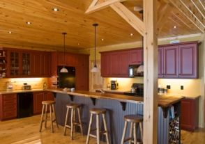 colorful log home kitchen