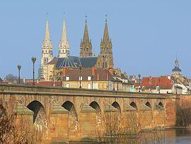 View of Moulins: Moulins Cathedral (left) and Église du Sacré-Cœur (middle). Possible origin of the name Mullineaux (Molyneux, etc) (RM)