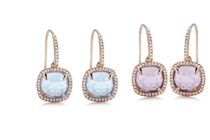 Faceted earrings with Brazilian Amethyst and Blue Topaz