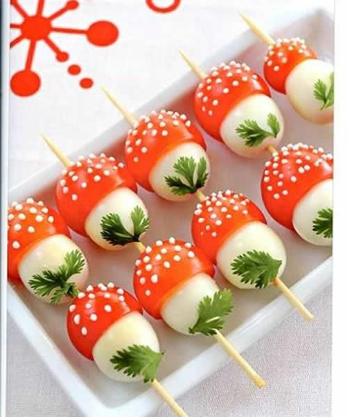 easy mushrooms on skewers cherry tomato eggs parsley