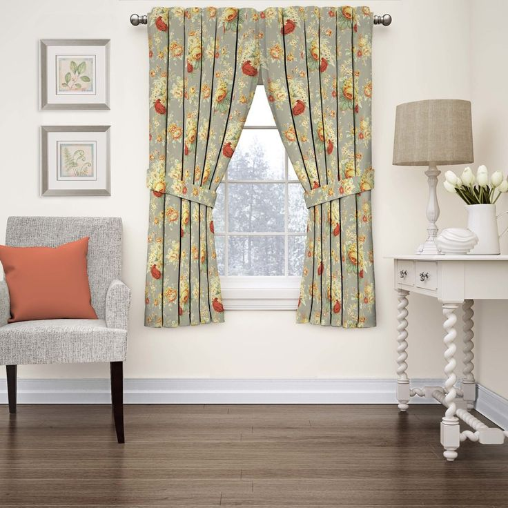 Waverly Sanctuary Rose 63-in Clay Cotton Rod Pocket Single Curtain Panel