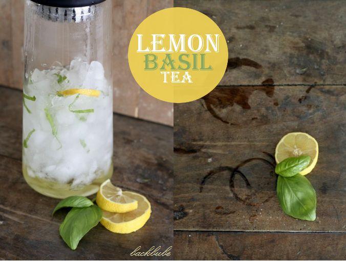 Lemon-Basil-Tea Zutaten: 8 cl Limetten-Sirup 150 ml Eiswasser 3 Blätter Basilikum (in feinen Streifen) Crushed Ice 1 Beutel Lemon Zinger Tea von Celestial Seasonings 1 Scheibe Zitrone