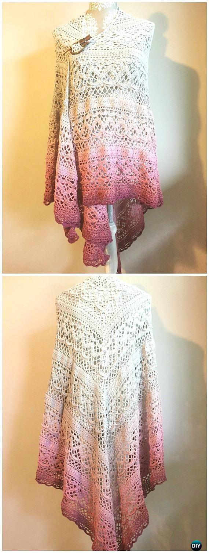 Crochet Klaziena Shawl Free Pattern - #Crochet; Women #Shawl; Sweater Outwear Free Patterns