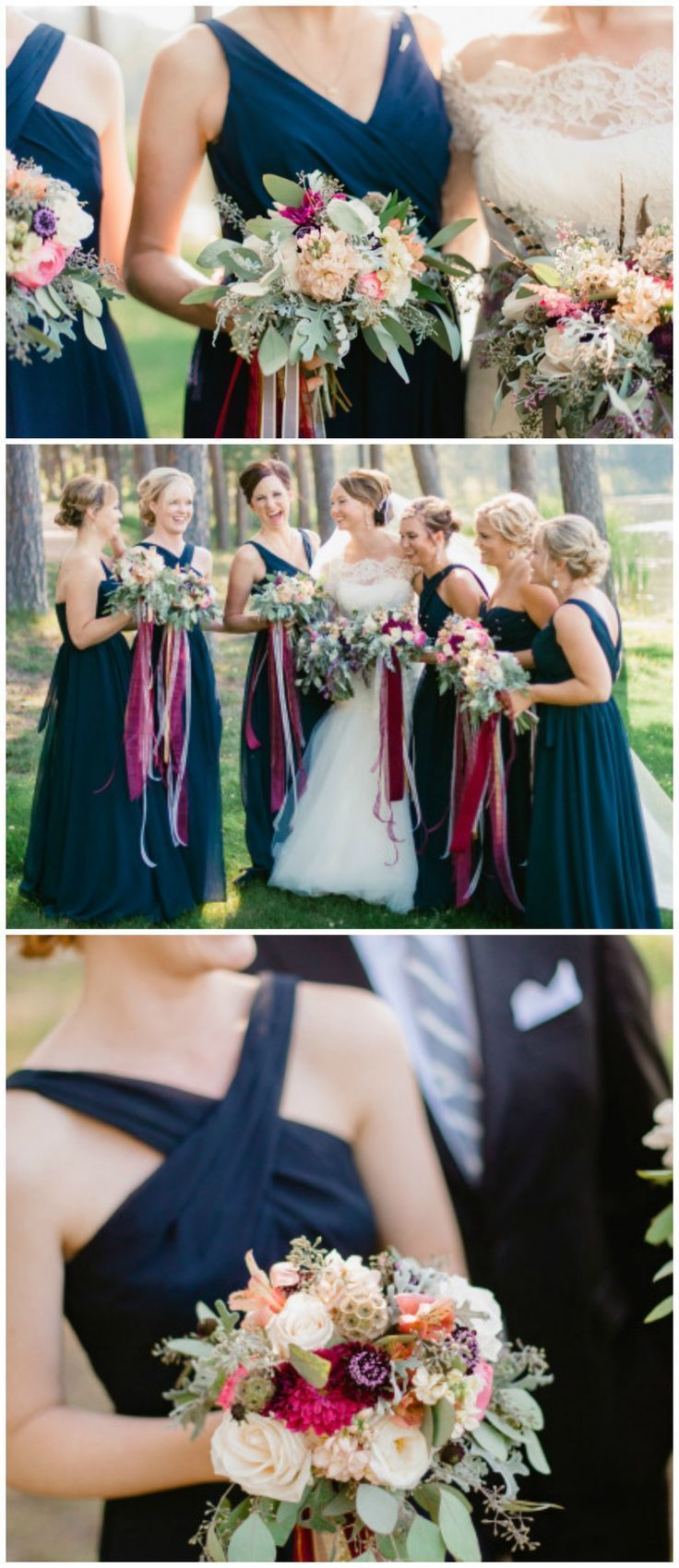 Mix and match bridesmaid dresses in navy. | Kennedy Blue Bridesmaids | Jeff Sampson Photography