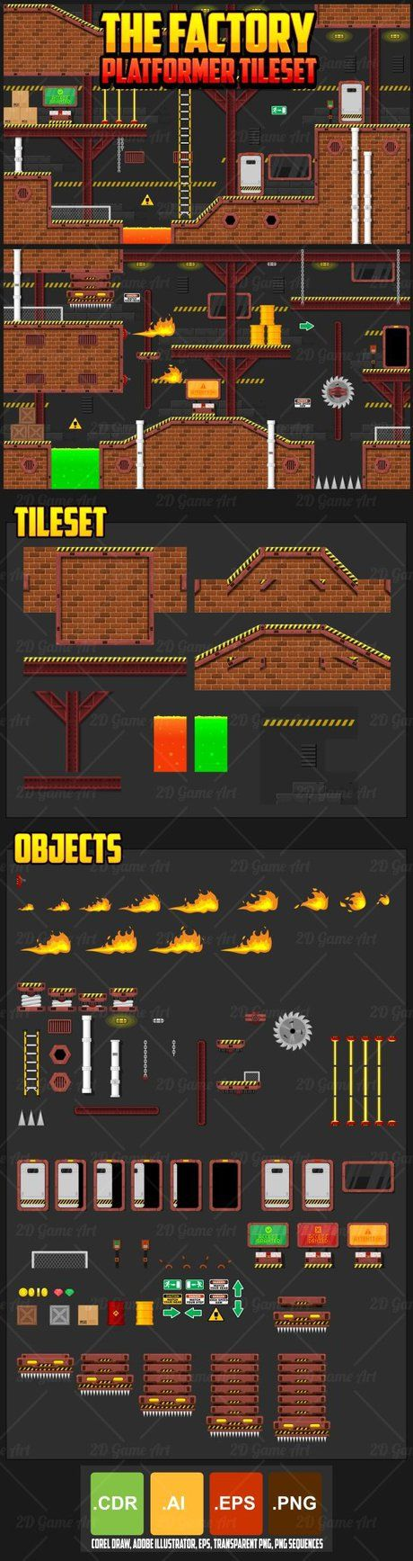 A set of vector game asset / graphic / sprite / art contains ground tiles and…